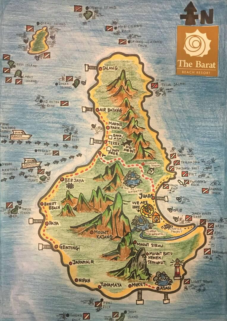 Maps Barat Tioman Beach Resort